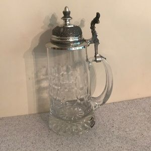 Clear Cut Crystal Stein with Pewter Hinged Lid